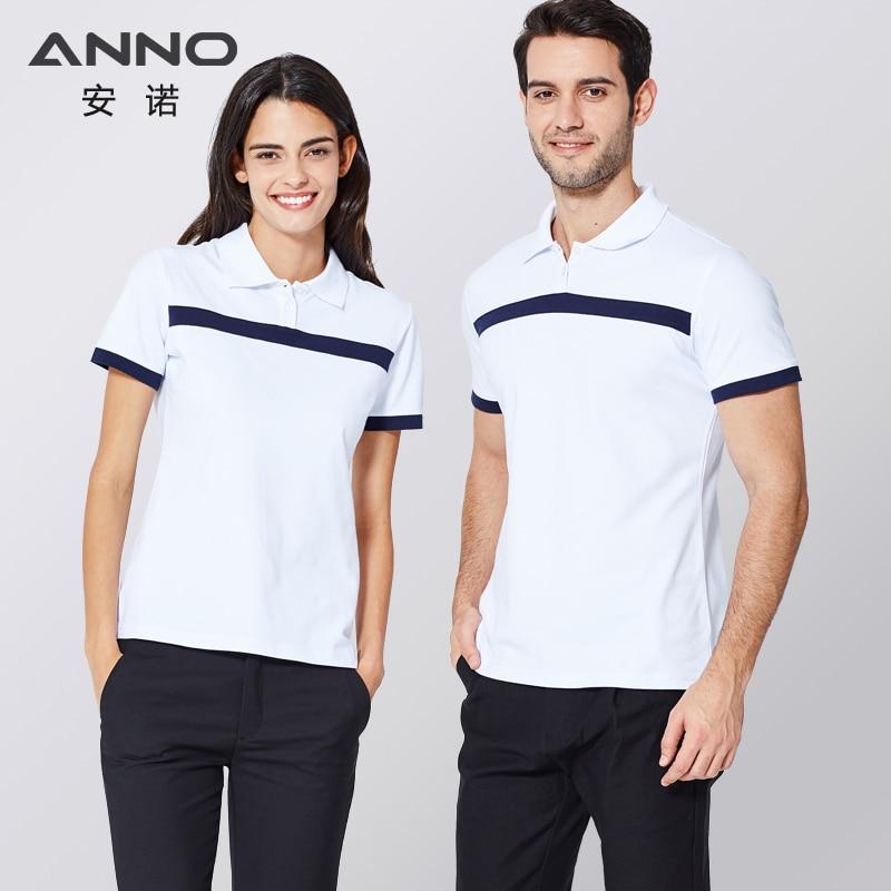 ANNO White Nurse Dress Top Leisure Polo Shirt Lapel Collar Work Uniform Medical Elasticity Summer Medical Scrubs