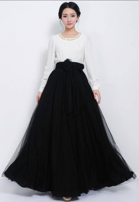 Aliexpress.com : Buy High Waist long pleated Maxi long skirts ...