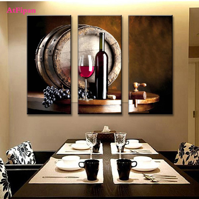 Wine Bottle Wall Art aliexpress : buy new atfipan still life flat barrel wine