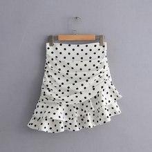 Женская модная плиссированная Асимметричная юбка в горошек с принтом faldas mujer, Женская юбка на молнии сзади, vestidos, шикарные юбки с оборками, QUN379