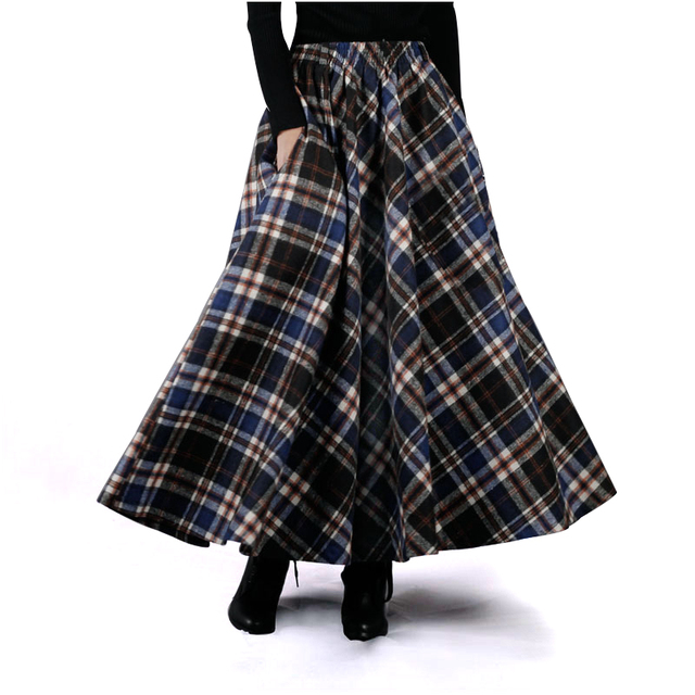 2015 Autumn Winter Women Skirt 50s Vintage and Retro Wool Maxi Elastic Plaid Classical Thick Warm Saias Longa A-0052
