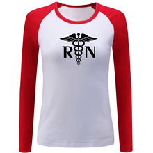 Registered Nurse RN Print Raglan Long Sleeve T Shirt for Women Cotton