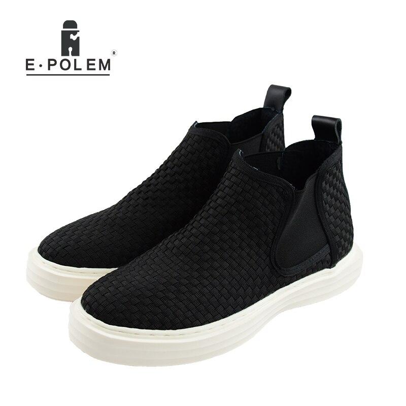 Nouvelle annonce hommes tricoté à la main milieu supérieur décontracté tissé tressé cuir chaussures tressé mâle ensemble pied chaussures 2018 printemps/automne