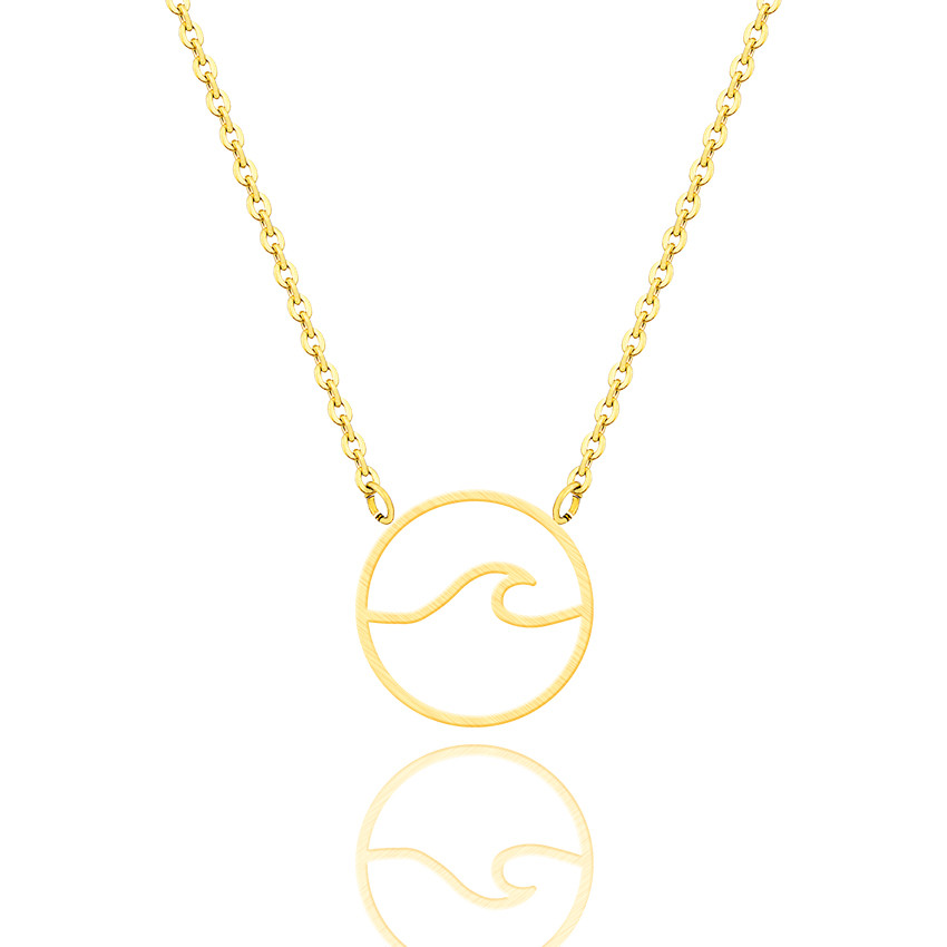 diseño de calidad 9dc41 7c1e8 US $1.52 31% OFF|V Attract Collares Largos De Moda 2018 Summer Style Sea  Wave Charm Necklace Beach Jewelry Stainless Steel Circle Pendant Choker-in  ...