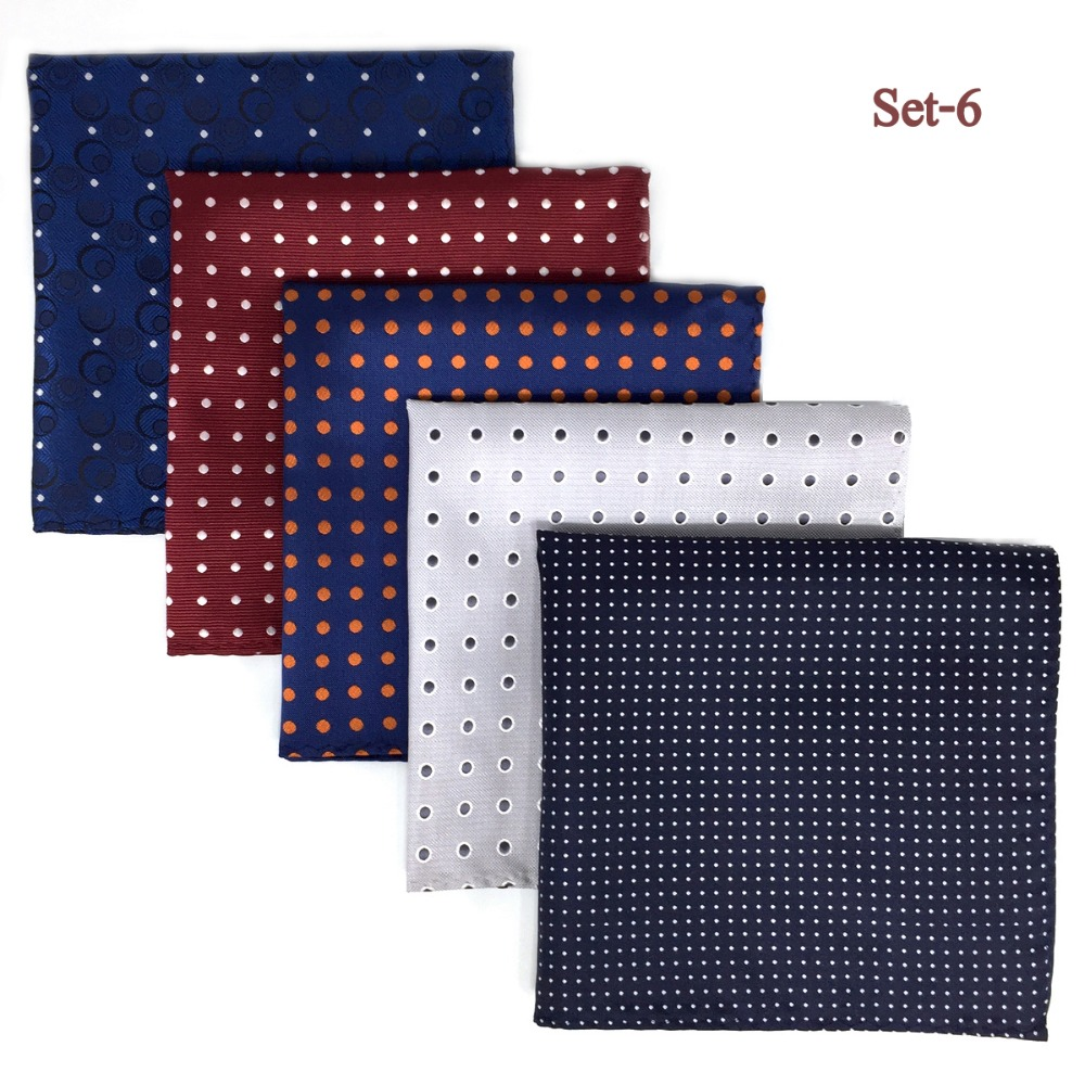 5 Pieces Assorted Mens Pocket Square Silk Handkerchief Set Colorful Large