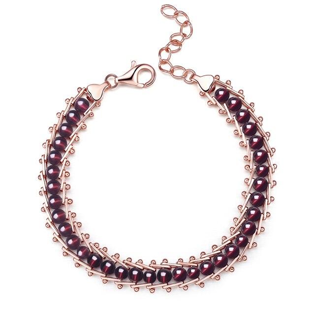 Fashion 925 Sterling Silver Beaded Bracelet Natural Garnet Beads Bracelet Wormen Bracelet Best Jewelry Gift for Birthday