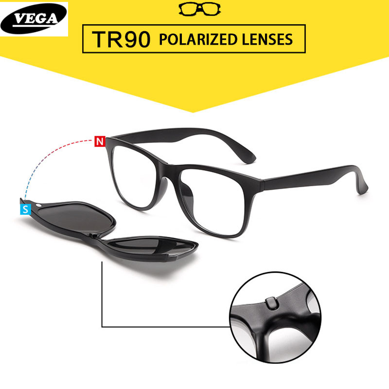 Prescription Eyeglass Frames With Magnetic Clip On Sunglasses : VEGA 2 In 1 Polarized Magnetic Clip On Sunglasses Over ...