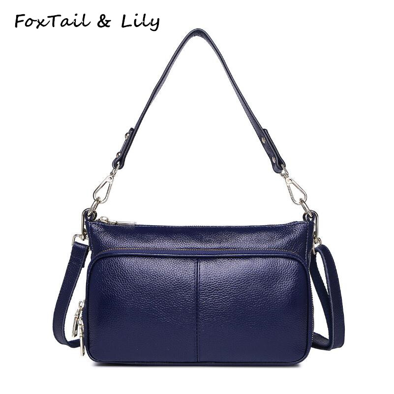FoxTail & Lily Genuine Leather Small Shoulder Bag Women Luxury Designer Handbags High Quality Famous Brand Woman Messenger Bags chispaulo woman bags brand 2017 famous brands designer handbags high quality cowhide genuine leather handbags messenger bag t351