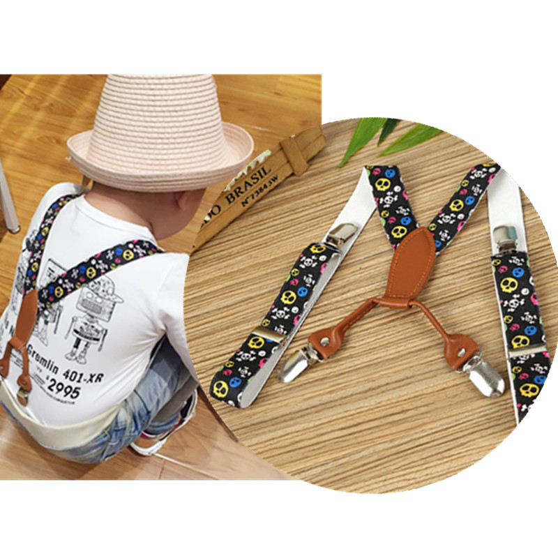 BD064--New Fashion Kids  Printed Suspenders High Quality Baby Leather 4 Clips-on Braces Colored Skulls Color