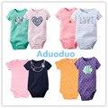 New 2PCS Baby Girls Bodysuits Newborn Clothes Body Bebe Short Sleeve Bodysuits Summer Infant Jumpsuit Clothes 100% cotton