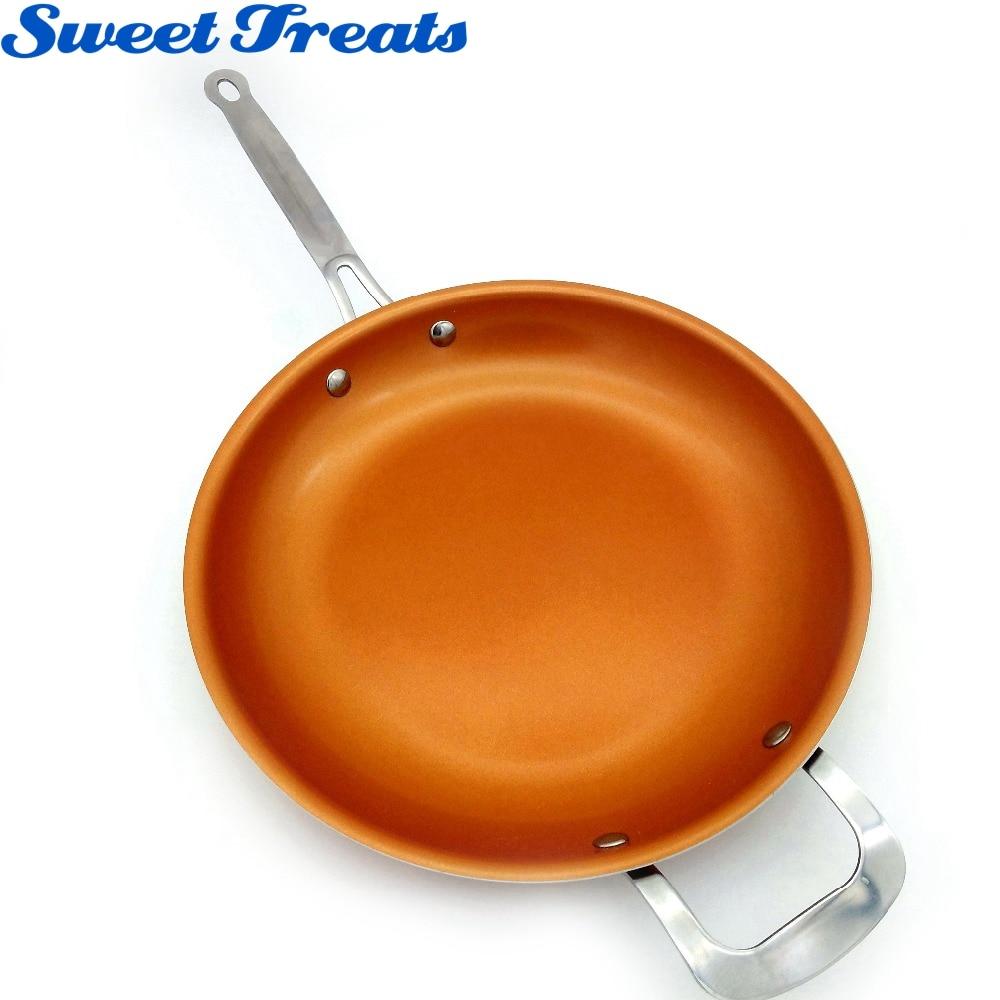 Sweettreats antiadherente cobre sartén con recubrimiento de cerámica y cocina de inducción, horno y lavavajillas 12 pulgadas