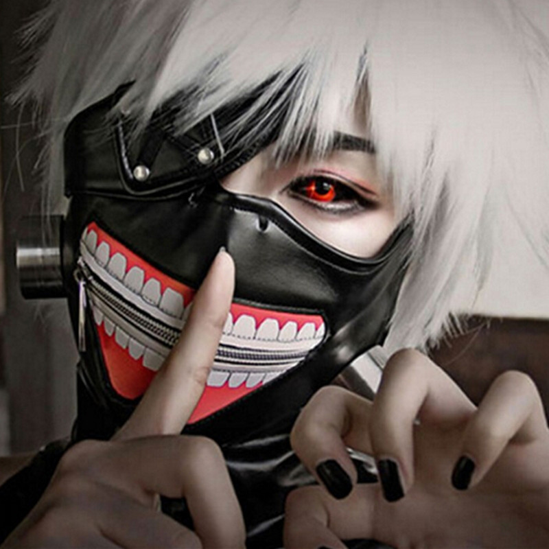 Anime Tokyo Ghoul Kaneki Ken Cosplay Mask with Wigs Zipper Faux Leather Mask Adult Halloween Party Masks