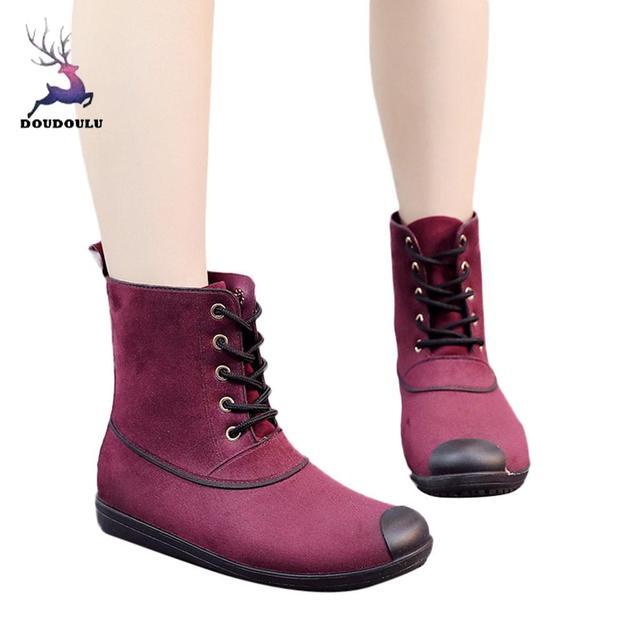 สตรีรองเท้ารองเท้าส้นสูงรอบ Toe รองเท้ากันน้ำกลางหลอดฝนรองเท้าผู้หญิงใหม่รองเท้าผู้หญิง zapatos de mujer