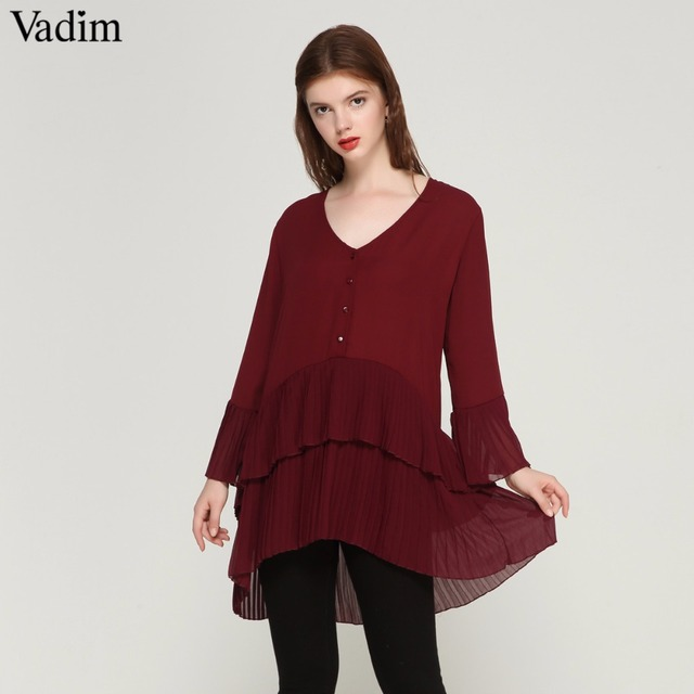 Vadim élégant col en V plissé long en mousseline de soie blouse longue style manches longues doux chemises dames décontracté chic hauts blusas LA178