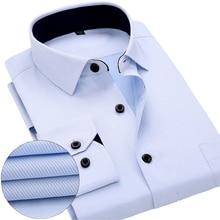Новая коллекция 2018 мужские рубашки брендовая мягкая с длинным рукавом квадратный воротник регулярные полосатый/Твил Мужчин Мужская классическая рубашка Белый Мужской топы