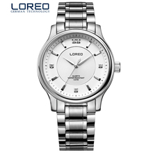 LOREO authentic fashion diamond water resistant simple sports leisure quartz stainless steel business men's silver watch