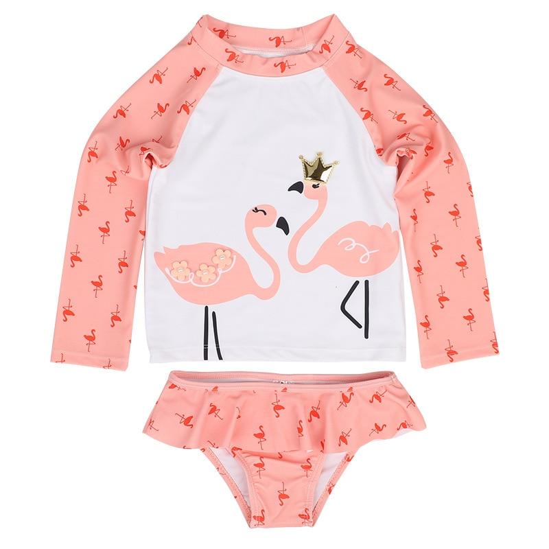 Gilrs Swimsuit Pink Flamingo Printed Two Piece Set Rash Guards Swimwear Long Sleeve Shorts Dive Skin Sun Protection 1-7Y Kids