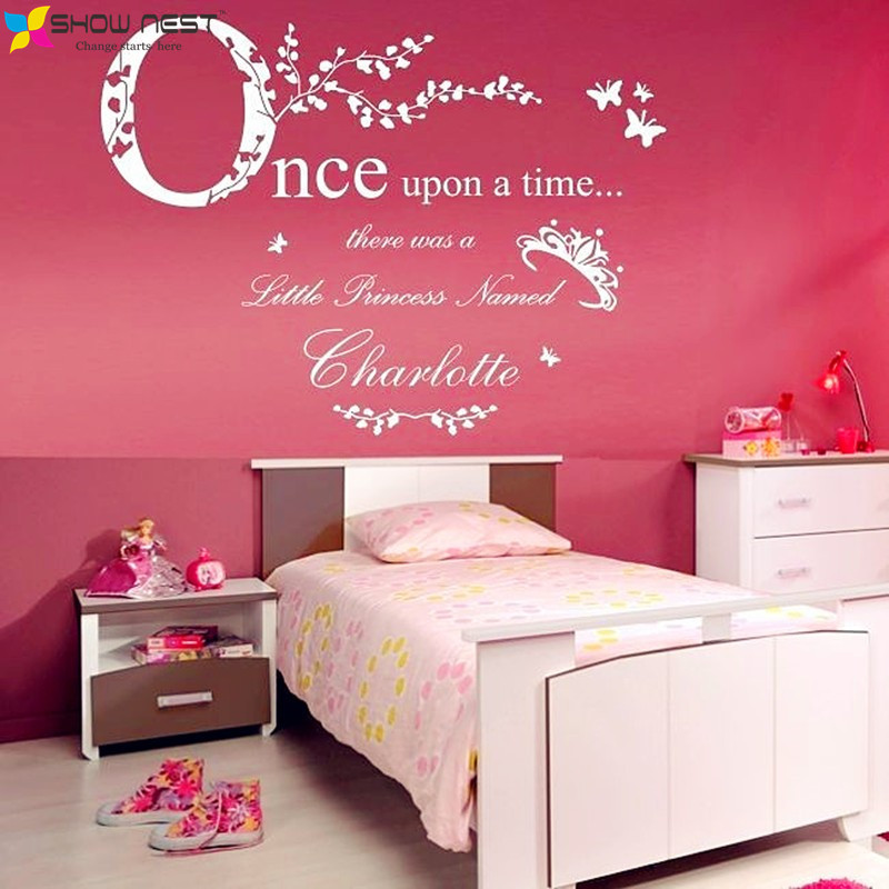 Aliexpress Once Upon A Time Princess Vinyl Wall Stickers Home Decor Personalized Name Decal Baby Bedroom Decoration Art From