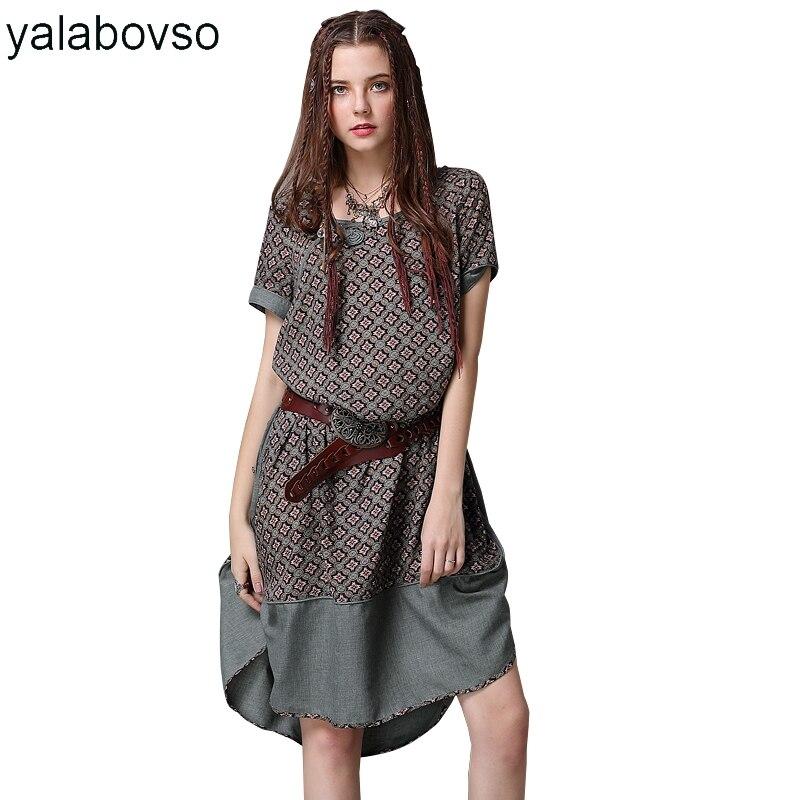 Vintage O cou côté fente Sexy robe avant court rétro bouton National vent printemps impression robes pour femme A50 A82076Z30