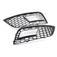 1 Pair FRONT BUMPER FOG LIGHT GRILLES GLOSS BLACK For FOR A4 A4 Quattro B9 2013