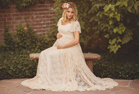Le Couple Maternity Gown Photography Props Maternity Maxi Dresses Off White Summer Lace Stretchy Dress Maternity