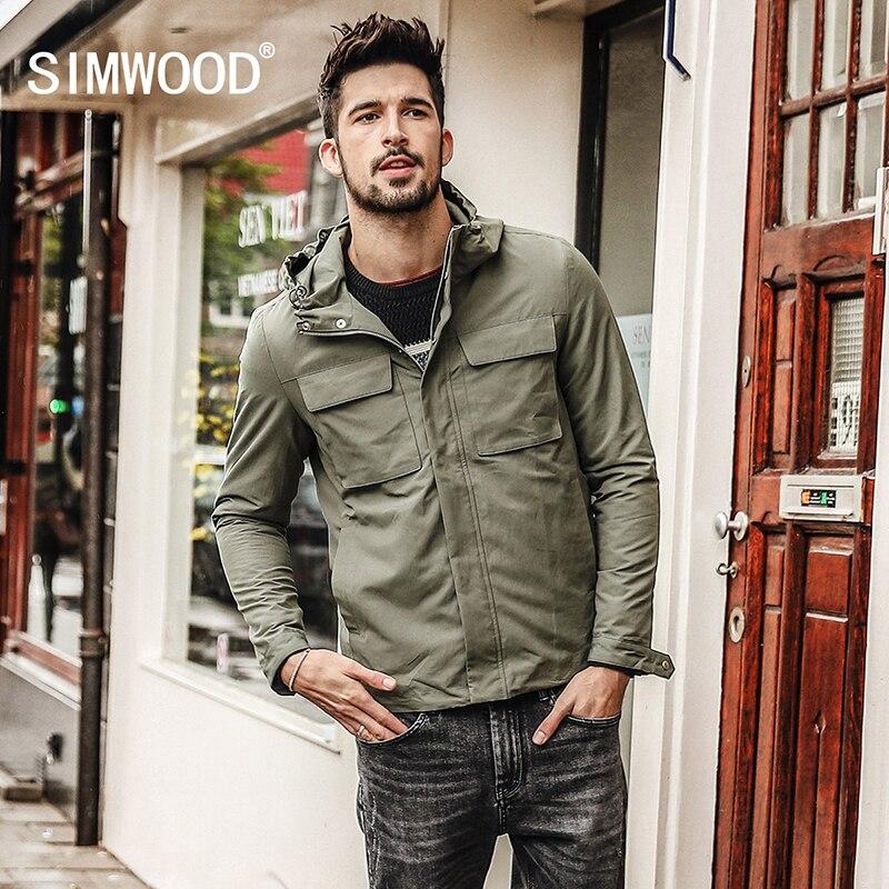 SIMWOOD Новинка весны 2019 года куртки для мужчин Карманы Мода Военная Униформа куртка ветровка повседневные пальто Slim Fit плюс размеры JK017008