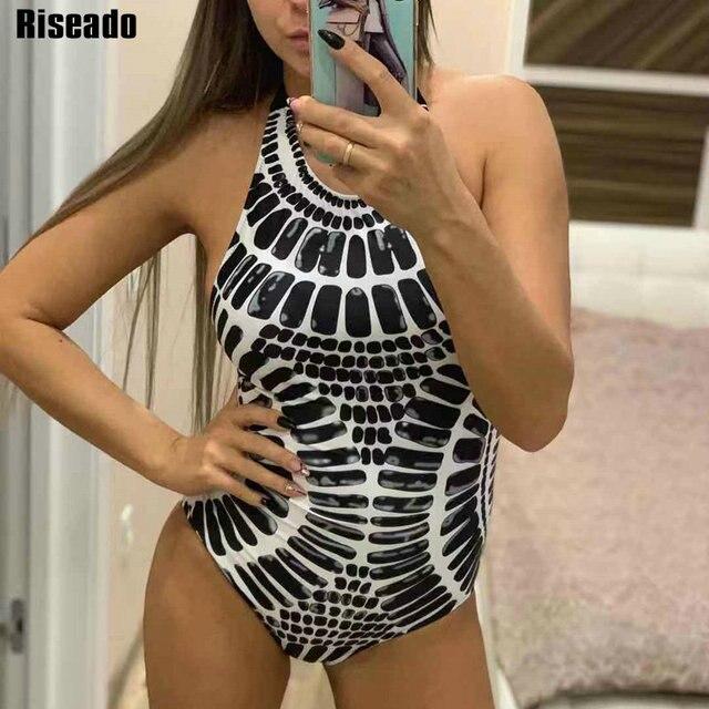 d9d87fed0147f Riseado New High Neck Swimwear Women One Piece Swimsuit Sexy Halter Lace-up  Swim Wear