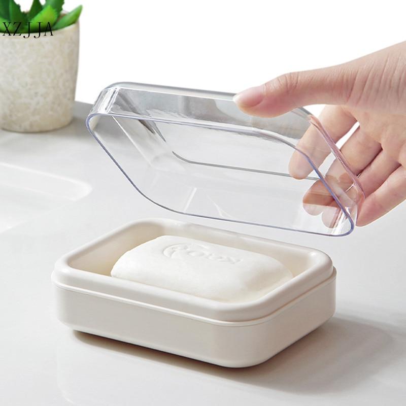 XZJJA 1pc Bathroom Double Layer Waterproof Soap Dish Outdoor Travel Soap Organization Case Bathroom Soap Holder With Cover