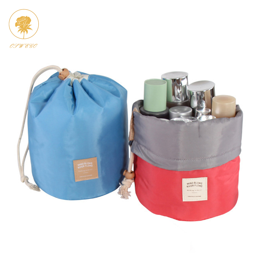 OSWEGO Waterproof Polyester Women Toilet Kit Organizer Makeup Bag Cosmetic  Cases Travel Cylinder Design Big Capacity Portable free shipping worldwide e487290d70cc4