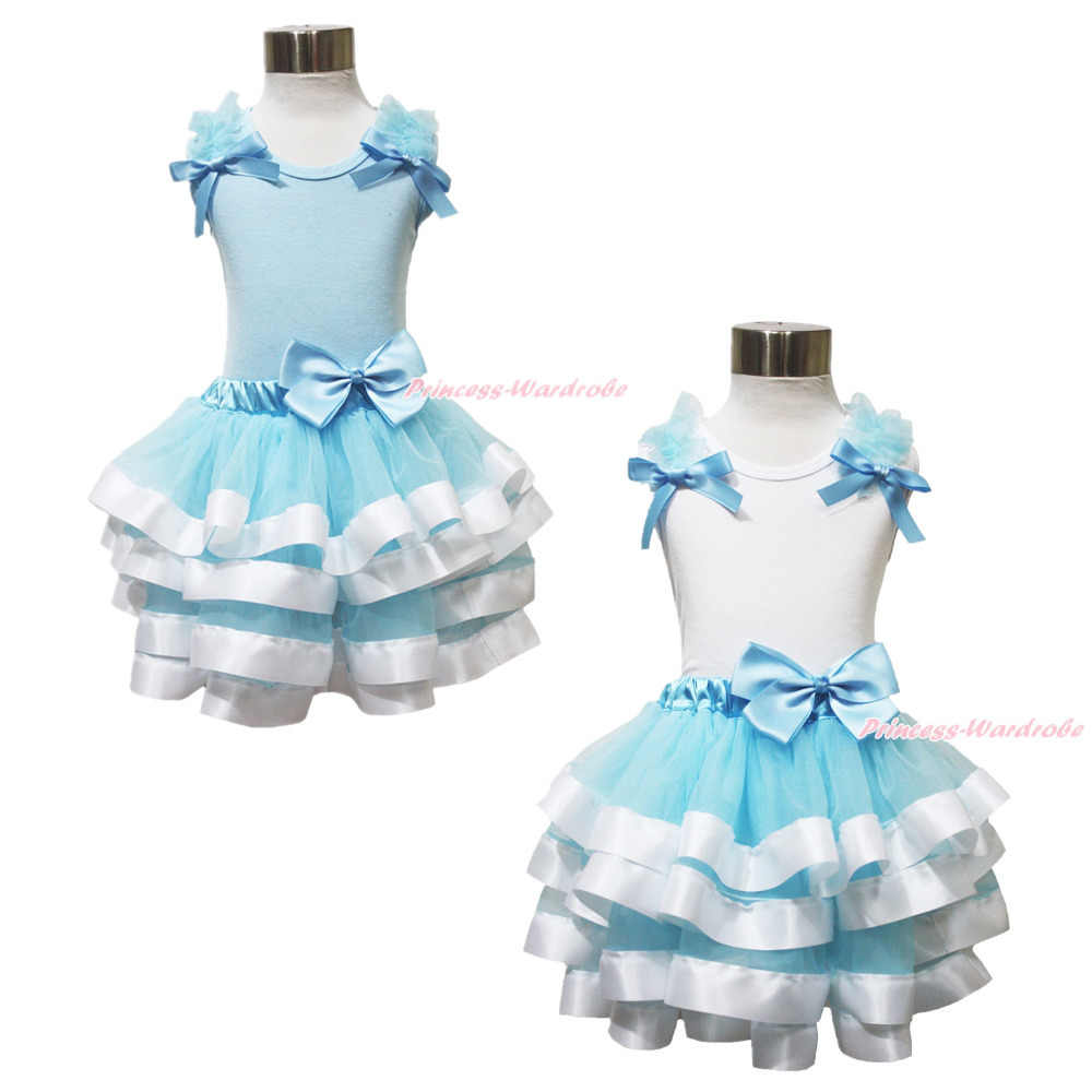 Princess Cinderella Blue White Top Satin Trim Pettiskirt Girl Outfit Set NB-8Y MAPSA0613 акустика центрального канала heco elementa center 30 white satin