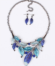 Women Crystal Jewelry Sets Enamel Leaves 4 Colors Jewellery Set Chain Necklace Earrings Sets Party Gifts