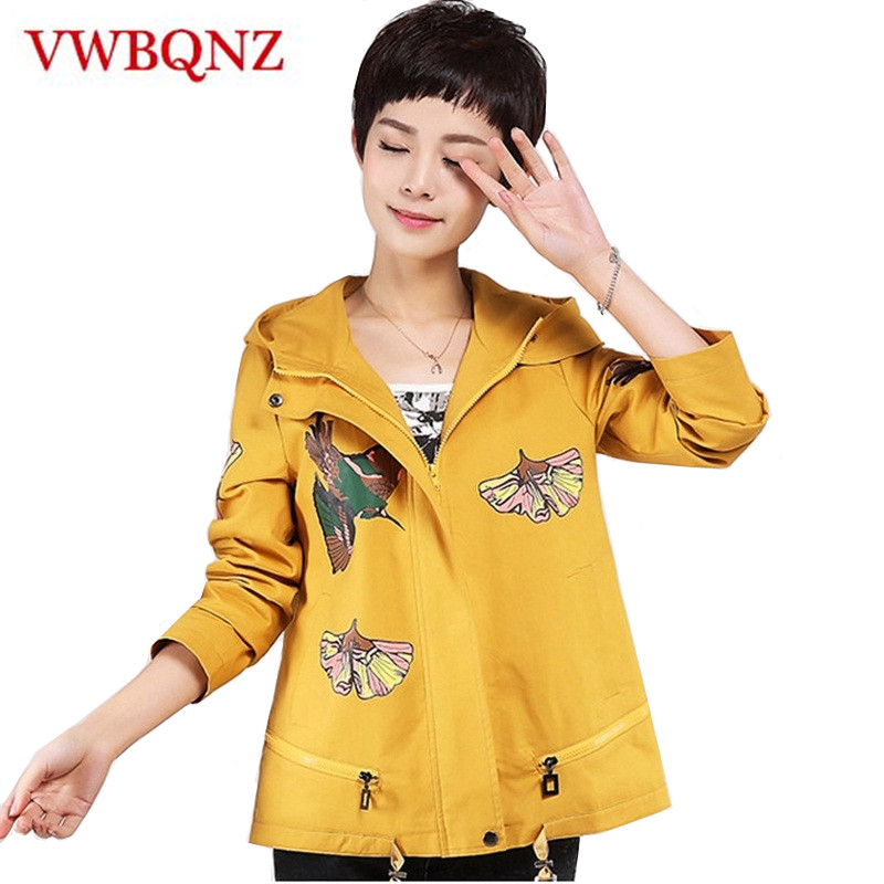 2018 New Women Hooded Windbreaker Coat Spring Autumn Print Casual Short Outerwear Large size 4XL Cotton Loose Female   Trench   Coat