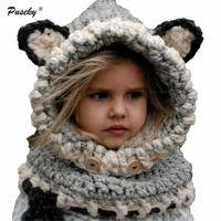 New Fashion Kids Neck Warmer Winter Baby Hat And Scarf Joint With Cartoon Style Crochet Knitted