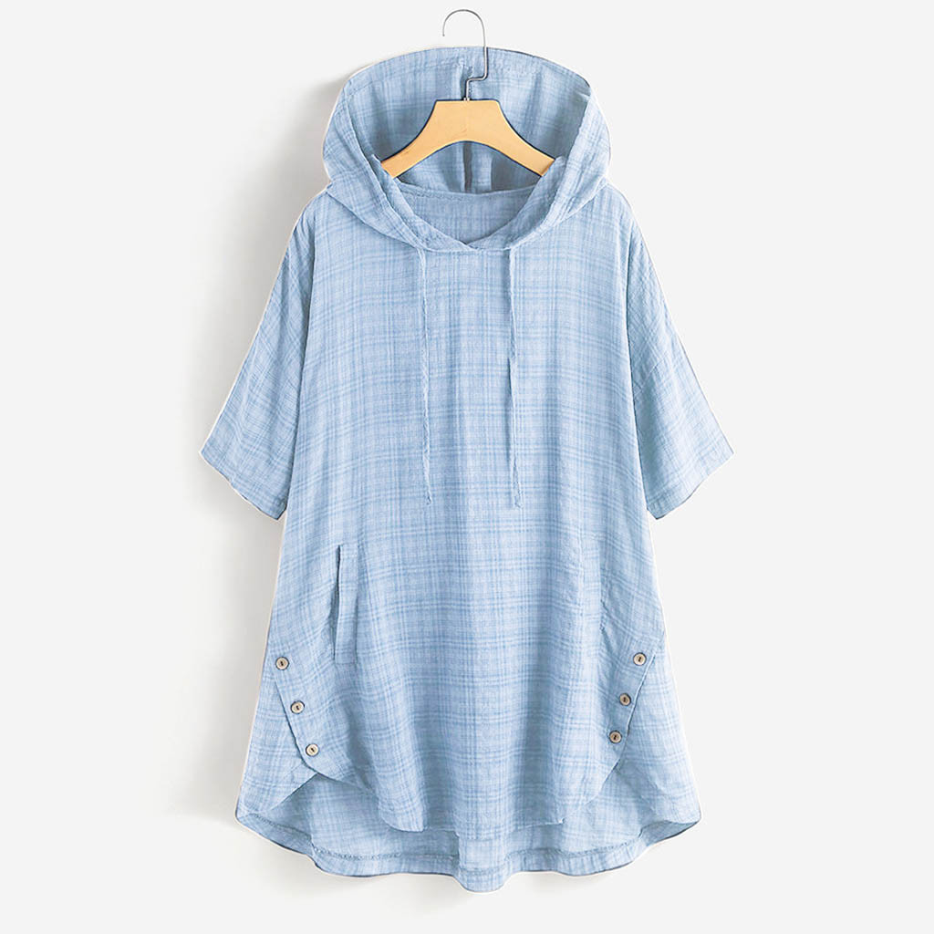Plus Size Blouse Women блузка женская Summer Tops And Blouses Button Lattice Short Sleeve Hooded Pocket Shirt Women Shirts #3