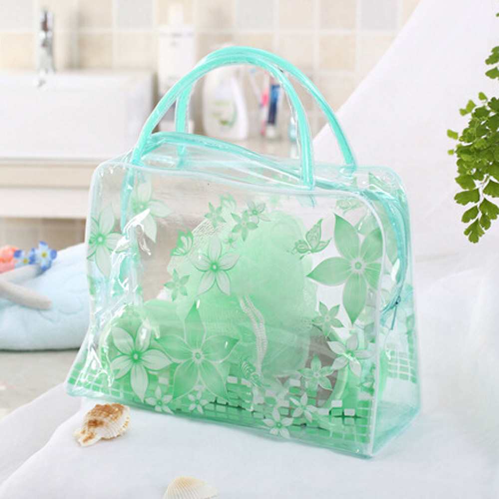 4 Colors Transparent PVC Flower Waterproof Makeup Toiletry Travel Wash Cosmetic Pouch Home Organization Storage Bags F919