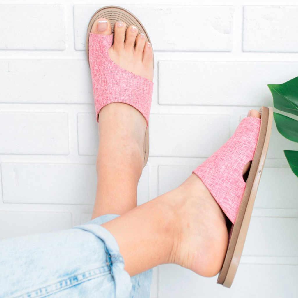Женская обувь из искусственной кожи; удобные женские повседневные мягкие босоножки на плоской платформе с коррекцией стопы и большим носком; ортопедический корректор; # N3