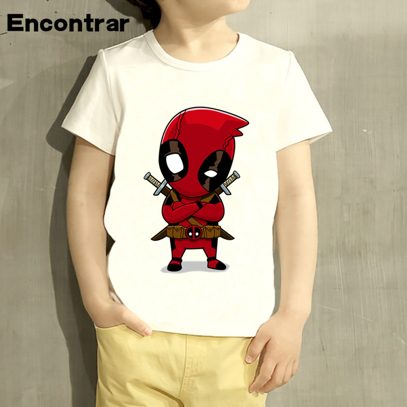 Boys/Girl Deadpool Superhero Funny Cartoon Design T Shirt Kids Great Casual Short Sleeve Tops Children Cute T-Shirt,HKP2237 boys and girls teen titans go cartoon printed t shirt children great casual short sleeve tops kids cute t shirt