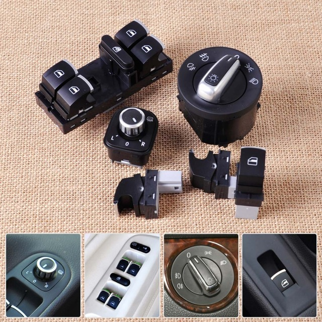 Headlight Mirror Window Switch Control Set 5ND941431A 5ND959565B 5ND959855 5ND959857 for VW Golf Jetta Passat Rabbit GTI Tiguan