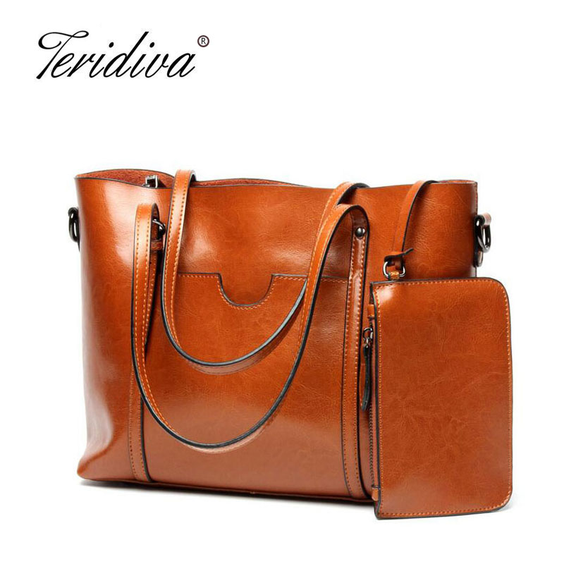 Teridiva Genuine Leather Women Shoulder Bags Ladies Fashion Brand Designer Cowhide Women Real leather Tote Bag Gifts for Mother 2017 new luxury genuine leather women shoulder bag fashion brand designer cowhide women real leather women bag gifts for mother