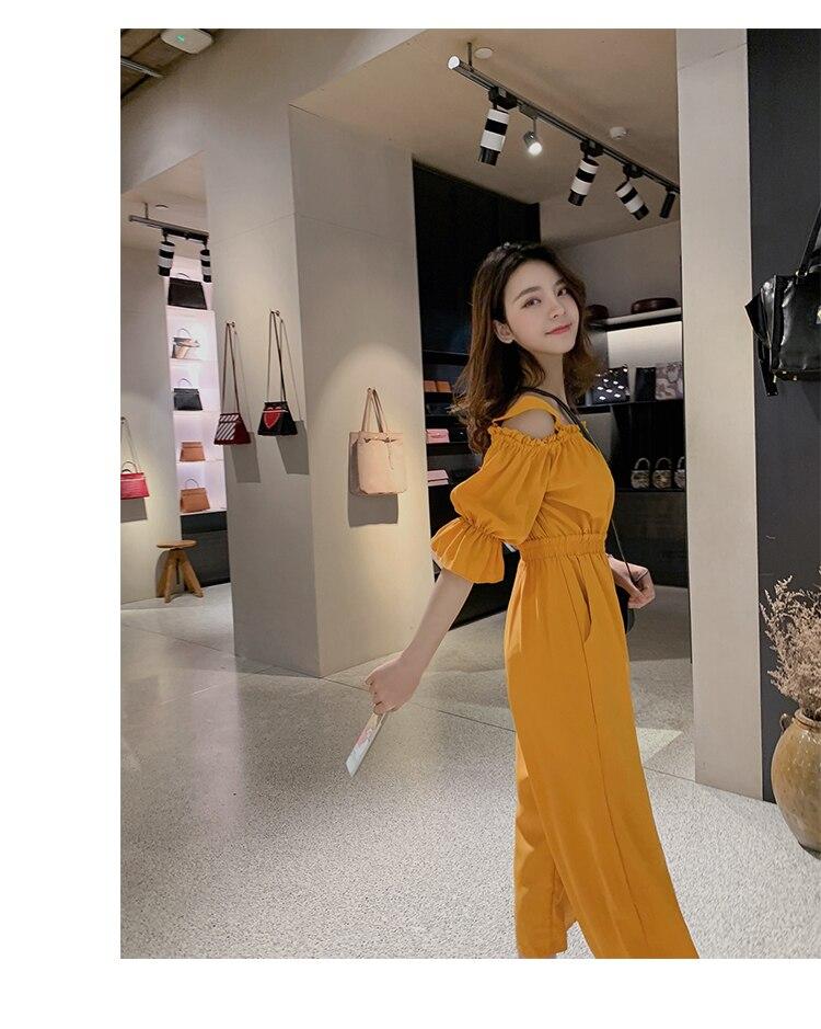 Women's Clothing 2019 Summer New Sexy Bohemian Style Spaghetti Strap Helf Sleeve High Waist Sling Long Beach Wide Leg Jumpsuit 22