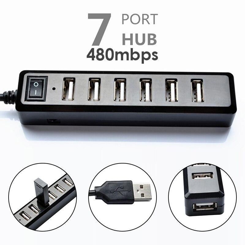 7 порты 480 Мбит/с USB 2,0 хаб-конвертер с выключателем света abs-пластик USB адаптер сетевое оборудование универсальный разъем прочный для окна USB