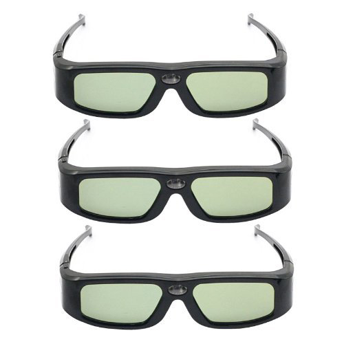 3 Pcs 144Hz <font><b>Rechargeable</b></font> 3D DLP-Link Projector <font><b>Universal</b></font> <font><b>Active</b></font> <font><b>Shutter</b></font> <font><b>Glasses</b></font> Black