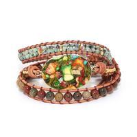 Wrap Bracelet Femme Natural Stone Colorful Howlite Charm 5 Strands Leather Rope Bracelets Exclusive Boho Bracelet Dropship
