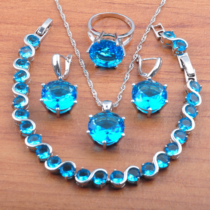 Jewelry-Set Earrings Necklace Pendant-Rings 925-Sterling-Silver Zirconia Women Blue New