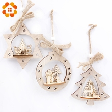 3pcs/set DIY Creative Wooden Christmas Pendants Decoration Wood Crafts Christmas Ornaments Party Home Decor Supplies Kids Toys