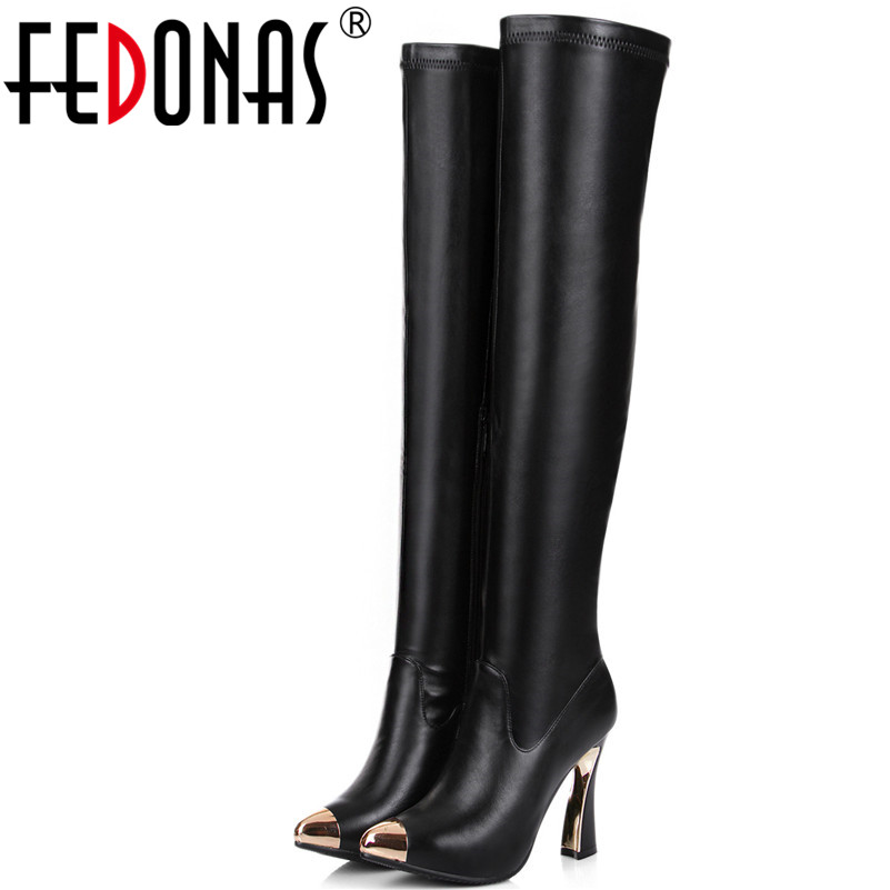 FEDONAS 1Fashion Women Over The Knee Boots Genuine Leather Autumn Winter Warm High Heels Shoes Woman Metal Decoration High Boots