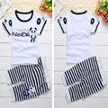 Hot Style Hot in The Summer Of 2016 The New Children's Boys Girls Pure Cotton Short Sleeve T-shirt + Pants Suit Set Free Postage