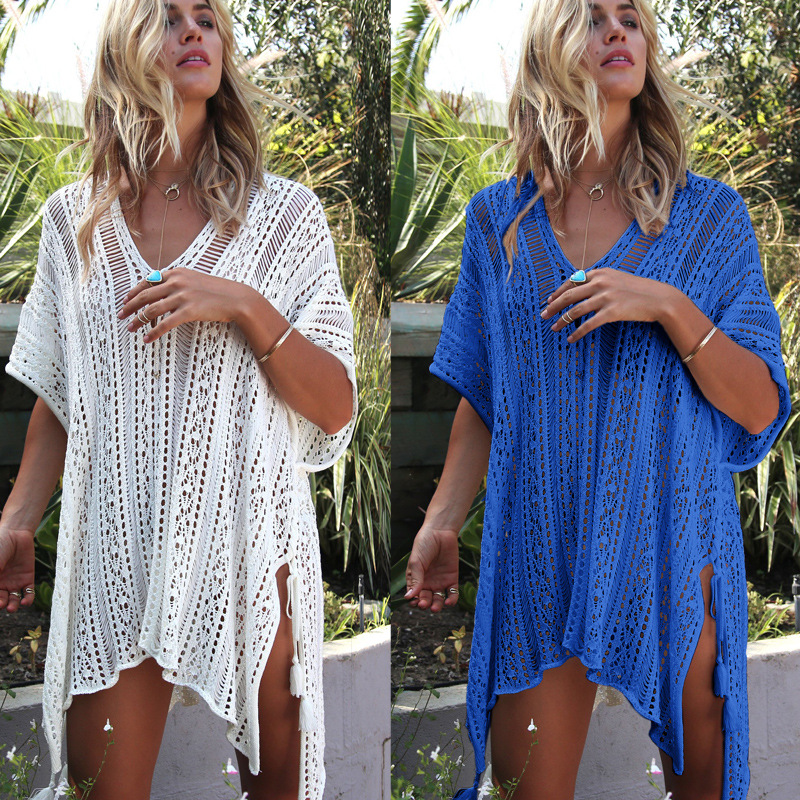 Bather Women Swimsuit Beach Cover Bikini Dress Bath Robe Ups Summer Tunics Knitted Hollow Loose Sexy Clothes Swimming Acetate