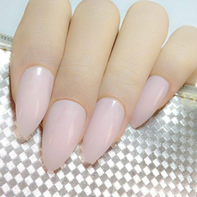 24pcs Candy Faux Ongle Stiletto Nails Clear Light Pink Acrylic False Nail Tips Diy Art