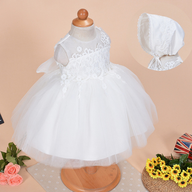 2017 Mid-calf Ball Gown Bow 2pcs/set Baby Girl Dress Christening Dresses 1 Year Birthday Party Newborn Kids Christmas Clothing